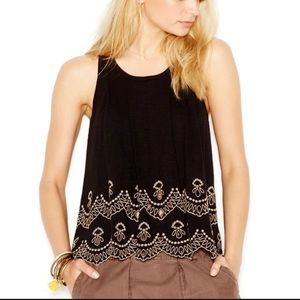 Free people small embroidered eyelet tank